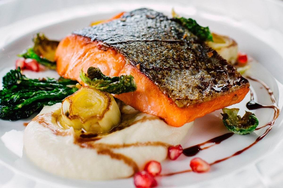 Beautiful seared salmon. B-Town serves the best seafood in Bellingham.