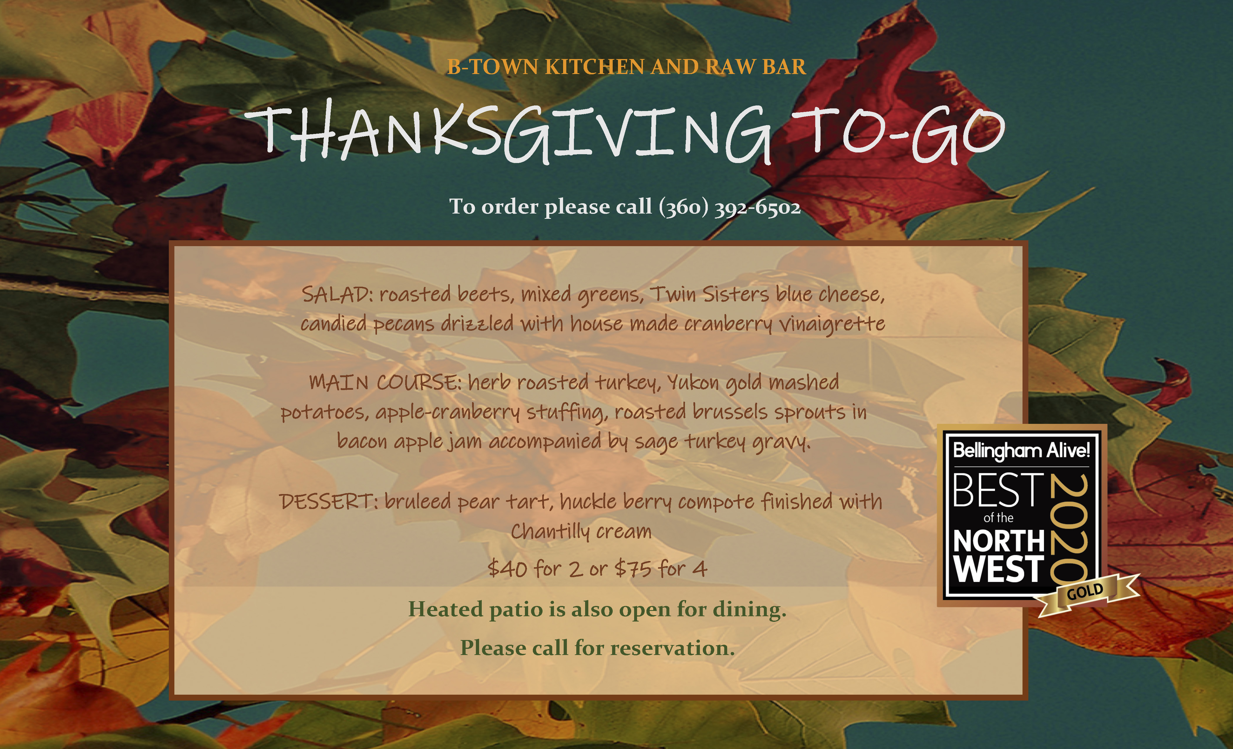 thanksgiving 2020 btown bellingham menu